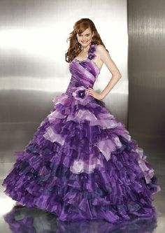 Fabulous amazing long one shoulder sleeveless purple organza multilayered pleated beading sequins flowers Evening/Quinceanera/Prom dress P288348