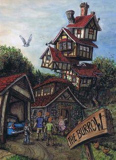The Burrow - harry-potter Fan Art Fanart Harry Potter, Harry Potter Book 2, Harry Potter Universe, Images Harry Potter, Arte Do Harry Potter, Theme Harry Potter, Harry Potter Drawings, Harry Potter Wallpaper, Hogwarts