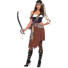 Adult Caribbean Castaway Pirate Costume