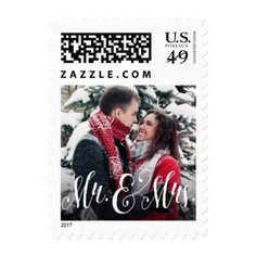 Newlywed photo stamp - wedding thank you marriage thankyou idea diy customize personalize