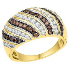 Women's 1 CT.T.W Round White/Brown Diamond Channel/Prong Set Fashion Ring in 10K Yellow Gold