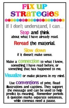 """Included are two 11"""" x 17"""" reading strategies to help students monitor and clarify.  I also sized them down to make double sided bookmarks for easy reference while students read.  Clip art is by Scrappin Doodles"""