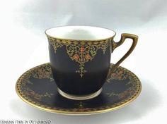 Deco Royal Worcester BLACK SATIN Jeweled Enamel Demitasse Cup & Saucer #RoyalWorcester
