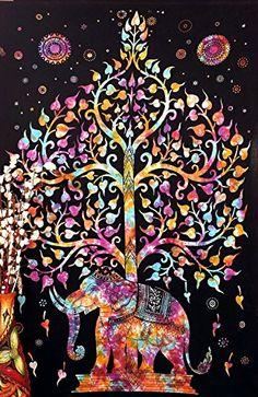 Handicrunch árbol de elefante tapiz vida