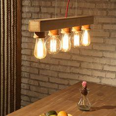 Retro Dining Room Wood Pendant Light Fixture with 5 Lights - Pendant Lights - Ceiling Lights - Lighting