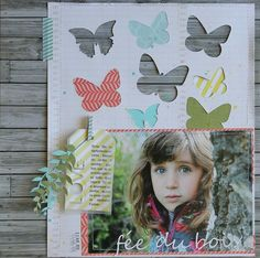 My kind of page: large photo, wood grain, butterflies, cut outs! By Sophie Crespy