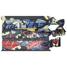 Set di 3 braccialetti di #Batman con stampa. Larghezza 1 cm, regolabili in lunghezza.