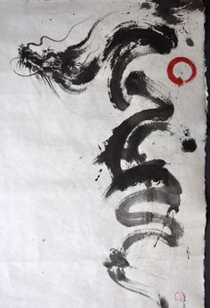 Dragon Abstract Painting, Original Calligraphy Art, Japanese Artwork, Zen Painting, Minimalist Art, Enso, Unique Art