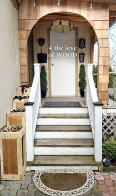 THE ARCH, THE STAIRS, AND WOOD ROT - porch progress Stair Railing, Stairs, West Coast Weather, Drip Edge, Porch Makeover, Arched Doors, Roof Lines, Exposed Wood, Going Gray