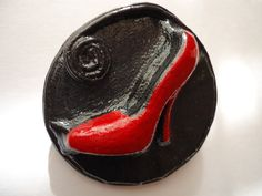 """Buy handmade - Exclusive leather brooch """"Red Shoe""""! Creative brooch 3D ! Eco brooch ! In every woman's wardrobe must be red shoes! A good option -original ,volume brooch ! Made by a special technology from solid piece of leather.Painted with acrylic paints and varnish. Design and technology made by myself . This is really exclusive!  With this decoration you will be noticed ! I can make such a brooch on the order, but an exact copy is not possible. Size - diameter of 5.5 cm"""