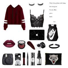 """Modern Red"" by karalyn-schwartz ❤ liked on Polyvore featuring Surratt, Kat Von D, Lime Crime, NIKE, Fuji, C MPL T UNKN WN, NARS Cosmetics, Miss Selfridge and modern"