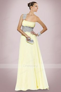 Romantic One-shoulder Chiffon Prom Dresses Dress with Shimmering Beadings