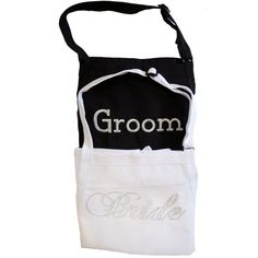Bride and Groom Apron Set  Fancy Bride Font  by InitialImpressions, $50.00