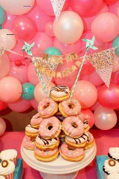 Donut Party, Donut Birthday Parties, Birthday Brunch, Birthday Cake Girls, Birthday Fun, Donut Birthday Cakes, Birthday Ideas, Birthday Breakfast, Doughnut Cake