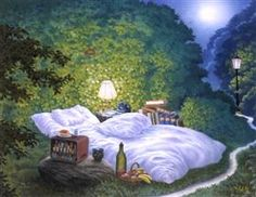 The Moonlight Bed - Jacek Yerka. I love this and would love a moonlight bed of my own! Saatchi Gallery, Van Gogh Museum, Magritte, Wassily Kandinsky, Henri Matisse, Vincent Van Gogh, British Museum, Art Magique, Summer Bedroom
