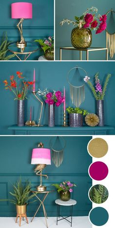 If bold and fearless colour combos are your thing then take inspiration from this striking pink interior colour palette. Dark Lovage, by Conran Paints, makes a great contrast against hot pink home accessories. By keeping to small quantities of the hottest Room Colors, House Colors, Home Design, Home Interior Design, Interior Styling, Interior Sketch, Interior Garden, Classic Interior, Design Ideas
