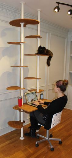Cat Tower Workstation Concept - DeskElements ~ This is the most amazing cat desk I've ever seen! In fact, it's the only cat desk I've ever seen. Cat Tree Designs, Cat Towers, Cat Shelves, Shelving, Cat Room, Cat Condo, Pet Furniture, Litter Box, Diy Stuffed Animals