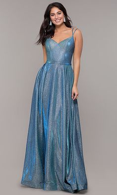 Shop sparkly formal prom dresses in metallic jersey at PromGirl. Long sweetheart evening gowns for prom and long formal dresses with a-line skirts, double straps, and side pockets. Senior Prom Dresses, Sparkly Prom Dresses, Pretty Prom Dresses, V Neck Prom Dresses, Plus Size Prom Dresses, Beautiful Dresses, Formal Dresses, Sparkly Shoes, Prom Shoes