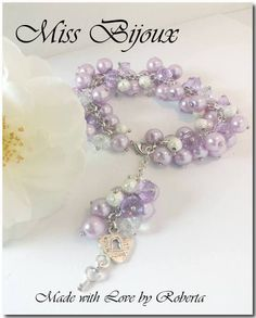 Set Bratara si Cercei tip cluster din perle sidefate culoare lila Cod, Jewelery, Beaded Bracelets, Elegant, Cod Fish, Jewlery, Classy, Jewels, Chic