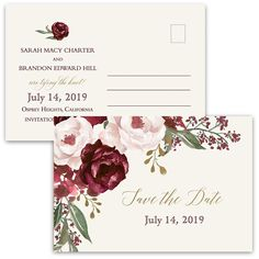 Fall Wedding Save the Date Postcard Burgundy featuring blush, gold and burgundy florals in watercolor which are perfect for summer, fall and winter weddings