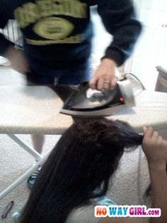 Before flat irons, I used to iron my sister's hair so it would look good. (Late 1960's)
