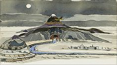Tolkien's watercolor of the Lonely Mountain