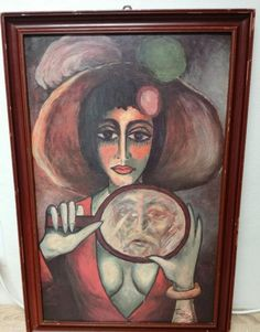 Oil paintings by Karel Gott-Woman with Mirror 1971 Paint oil on canvas reproduction Karel Gott, Beautiful Women Quotes, Woman Quotes, The Ordinary, Oil On Canvas, Vibrant, Poster, Art Deco, Oil Paintings