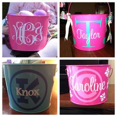 Easter Pails. Vinyl from Expressions Vinyl and cut with a Silhouette Cameo. Pails from Hobby Lobby. :)