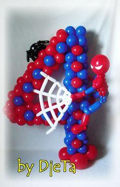 """Spiderman"" themed number Spiderman Balloon, Superhero Balloons, Letter Balloons, Spiderman Theme, Balloon Centerpieces, Balloon Decorations, Birthday Party Decorations, Balloon Ideas, Balloon Columns"