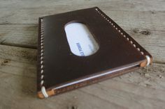 Personalized Horween Leather Business Card Holder on Etsy, $37.00
