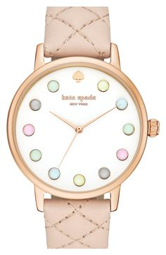 Free shipping and returns on kate spade new york 'metro - rainbow' leather strap watch, 38mm at Nordstrom.com. A kate spade timepiece exudes lovely, feminine flair with pastel-colored crystal indexes and a complementary quilted leather strap.