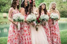 Jessilon & Joel's red, pink & green spring wedding photographed by Jasmine Rose Photography is an absolute dream. Floral Bridesmaid Dresses, Colored Wedding Dresses, Wedding Bridesmaids, Green Spring Wedding, West Virginia Wedding, Pink Gowns, Rose Photography, Pink And Green, Jasmine Rose
