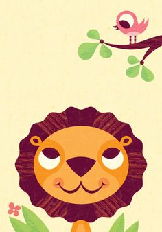 Bob Daly's illustrations are playful and simple but I think the bits of texture in the lion's mane make the illustration add a layer of depth that makes it even more interesting.