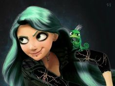 Requnzel from Tangled. Disney princess goes punk. Disney Punk Edits, Punk Disney Characters, Goth Disney, Evil Disney, Dark Disney, Disney Fun, Disney Girls, Gothic Characters, Zombie Disney