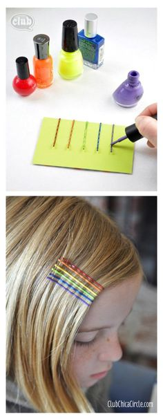 Rainbow nail polish painted bobby pins: tween fashion. So cute! The girls could even make these on a rainy day!