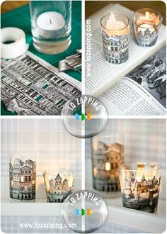 AWESOME crafty idea to do with old books with city scene pictures in black and white - I don't really burn candles but this is still a cute idea Diy Projects To Try, Craft Projects, Craft Ideas, Old Book Crafts, Diys, Fun Crafts, Paper Crafts, Diy Paper, Ideas Prácticas