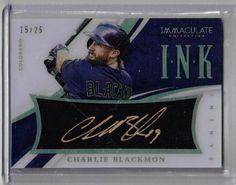 2015 Immaculate Baseball Charlie Blackmon Auto Gold Ink Card #15/25 Col. Rockies #ColoradoRockies