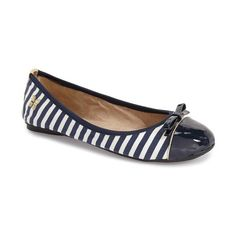 Butterfly Twists 'Cara' Foldable Stripe Ballet Flat ($45) ❤ liked on  Polyvore