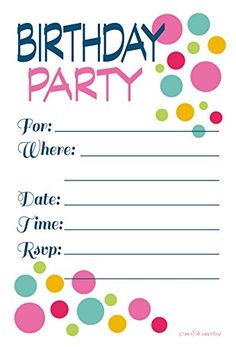 Free printable birthday invitations for kids freeprintables adult or teen birthday party invitations colorful dots fill in style 20 count with envelopes mh invites httpamazondpb00vtpyrl8ref stopboris Image collections