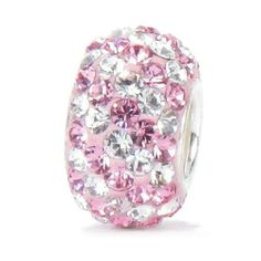 Bella Fascini Pink & Clear / White Stripe Pave Sparkle Bling - Solid .925 Sterling Silver Core European Charm Bead Made with Authentic Swarovski Crystals - Compatible Brand Bracelets : Authentic Pandora, Chamilia, Moress, Troll, Ohm, Zable, Biagi, Kay's Charmed Memories, Kohl's, Persona & more! Bella Fascini Beads,http://www.amazon.com/dp/B0071REMA4/ref=cm_sw_r_pi_dp_MdAotb17TSSVJKS9