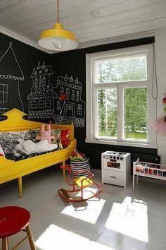 125 großartige Ideen zur Kinderzimmergestaltung - kinderzimmer ideen im eklektischen stil schwarze wand bett