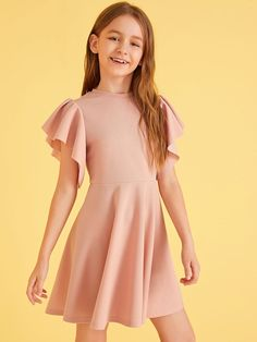 Girls Butterfly Sleeve Keyhole Back Dress – gagokid Kids Dress Wear, Dresses Kids Girl, Cute Girl Outfits, Dresses For Teens, Pretty Outfits, Baby Dress, Cute Dresses, Kids Outfits, Woman Outfits