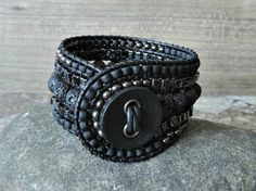 Beaded Leather Cuff by CaliTerra Designs