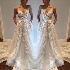 Charming Applique Ivory Inexpensive Bride Wedding Dresses, PM0614