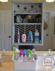 create some additional and unusual storage space in your bathroom, bathroom ideas, cleaning tips, shelving ideas, storage ideas, Attach directly over a large mirror to create more storage space Click over to the post to see how I managed to hang this shelf