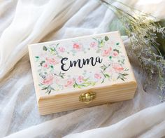 Wedding bridal party gifts - Bridesmaids Gift Box Jewelry Box Personalized Name, Wooden Box for Wedding Bridal Party Flower Girls Nieces Gift Name Box (Item – Wedding bridal party gifts Flower Girls, Flower Girl Gifts, Diy Flower, Flower Crowns, Name Boxes, Niece Gifts, Bridesmaid Gift Boxes, Bridesmaid Flowers, Bridesmaid Jewelry