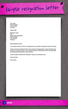 How to write an application letter quit