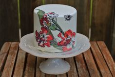 hand painted flowers and bee birthday cake
