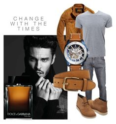 """change with times"" by sofiacalo ❤ liked on Polyvore featuring Dolce&Gabbana, Superdry, TOMS, FOSSIL, Bergè, men's fashion and menswear"