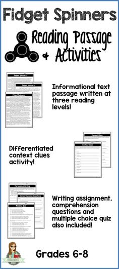 One page reading passage about fidget spinners written at three different reading levels. Great practice for informational text. Writing assignment and comprehension questions. Reading Comprehension Passages, Comprehension Questions, Reading Strategies, Reading Activities, Teaching Reading, Learning, Middle School Writing, Middle School English, Passage Writing